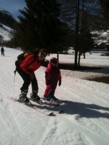 Lily & mummy skiing in Val d'isere 2014